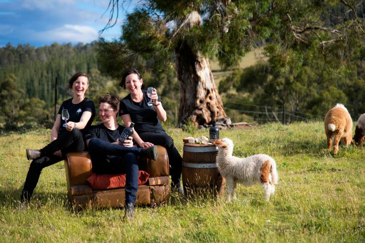 Three people smile at the camera surrounded by sheep and pasture © Tourism Tasmania and Rob Burnett