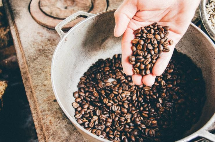 A hand holds some brown coffee beans over a bucket at Raven's Coffee in Denmark, Western Australia © Unsplash/Milo Miloezger