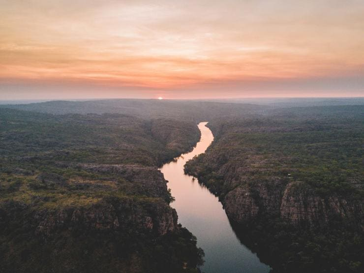 Looking down on a river and sunset in Nitmiluk National Park Tourism © NT/Shaana McNaught
